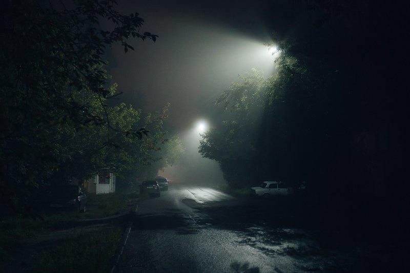 туман, ночь, город, фонари Атмосфера ночного городаphoto preview