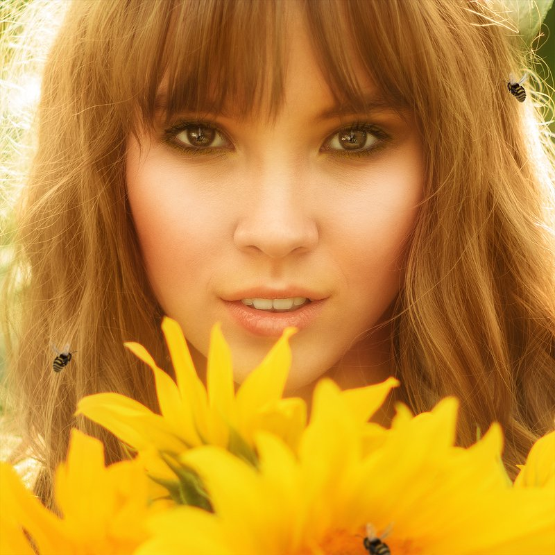 портрет, подсолнух, девушка, пчела, желтый, закат, portrait, face, close up, yellow, sunflower, bee photo preview