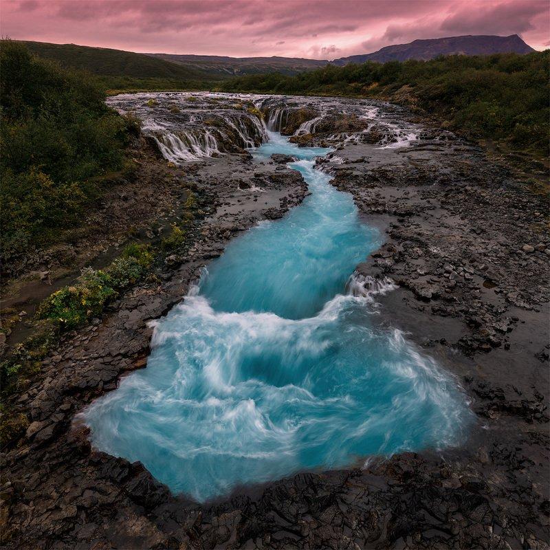исландия, iceland, водопад, bruarfoss Неоновый водопад.photo preview