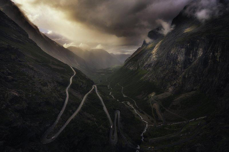 norway, trollstigenroad, sunset, midnightsun Trollstigenphoto preview