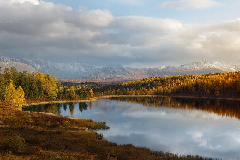 природа, пейзаж, закат, озеро, осень, алтай, горы Златоморьеphoto preview