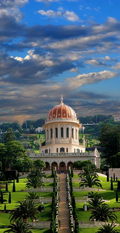 город, архитектура, религия, цвет, вертикальная, история, панорама Бахайский храм. Хайфаphoto preview