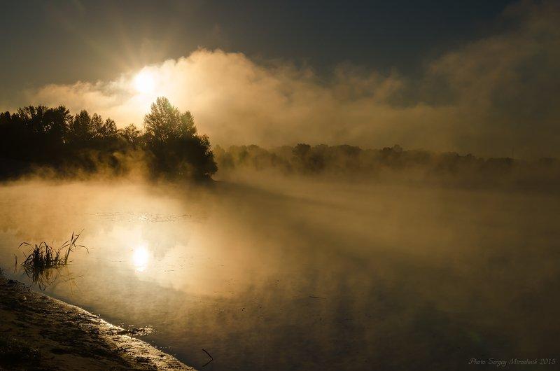 пейзаж, река, осень, красиво, утро, деревья, туман, октябрь Утренний туман на рекеphoto preview
