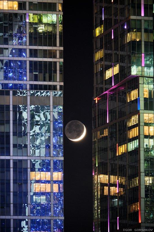 москва,луна,новолуние,москва-сити,ночь,ночной город,архитектура Новолуние между небоскрёбамиphoto preview