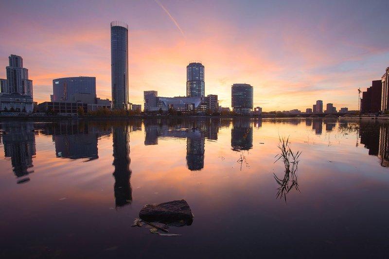 екатеринбург, закат, вода Вечерний Екатеринбургphoto preview