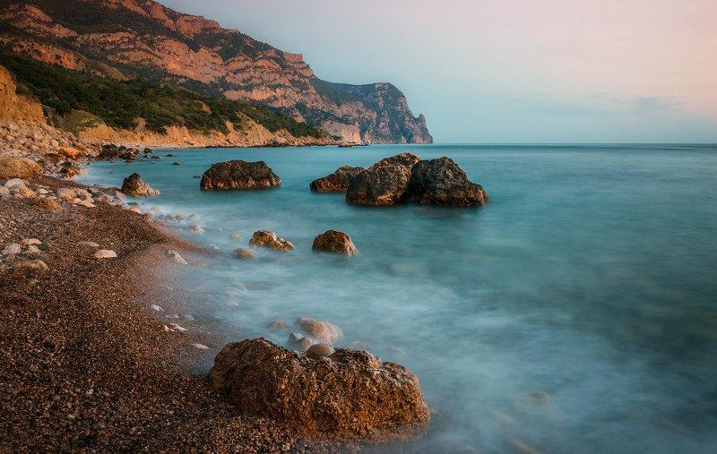 крым, пейзаж, вода, море, вечер, камни, закат, облака, горы, айя Предзакатный мыс Айяphoto preview