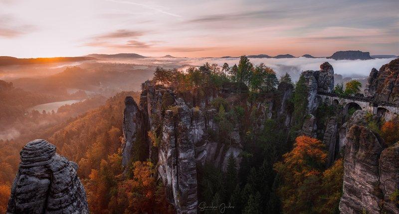 Sächsische Schweiz, mountain, rock, nature, trees, sun, sunset, sunrise. Sächsische Schweizphoto preview