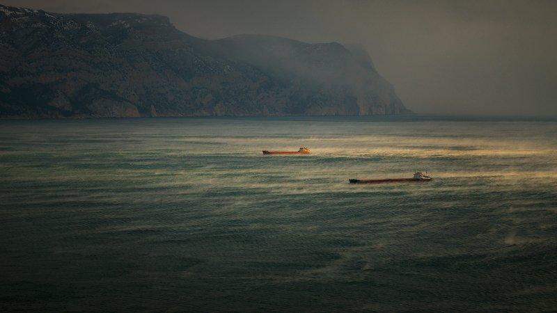 крым, пейзаж, зима, вода, море, горы, балаклава, облака, Январское море в Крыму.photo preview