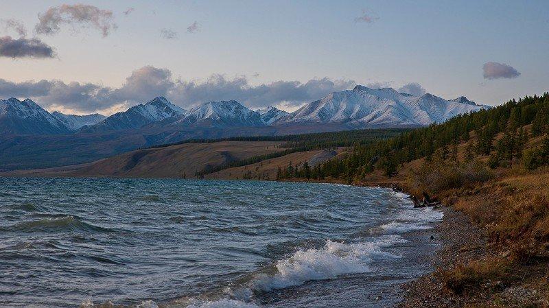 озеро хубсугул монголия вечер закат  осень волны облака Побережье озера Хупсугулphoto preview