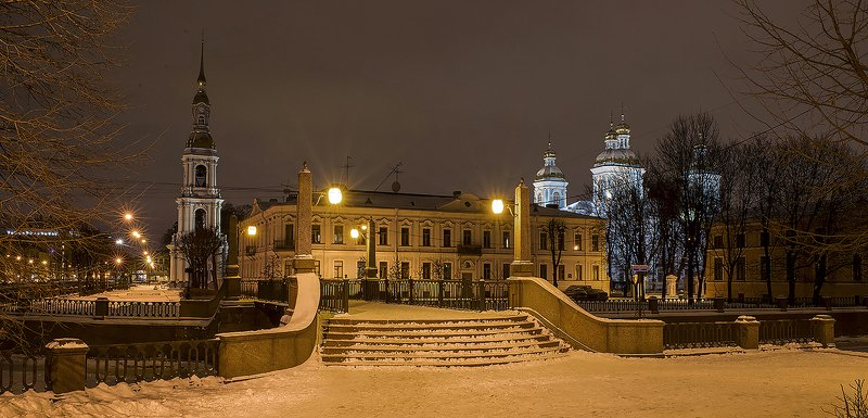 никольский собор питер Зимний ночной Никольский собор .photo preview