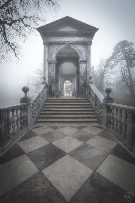 пушкин, туман, осень Мраморный мостphoto preview