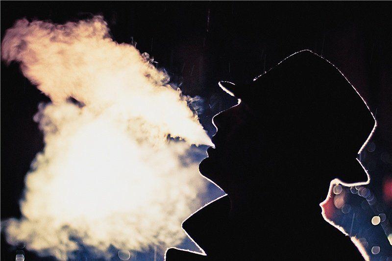 дождь, дым, шляпа, ночь, нюар ***photo preview