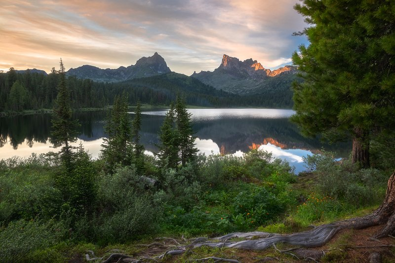 птица, звездный, саяны, ергаки, озеро светлое, лето, закат, жарки Закатная...photo preview