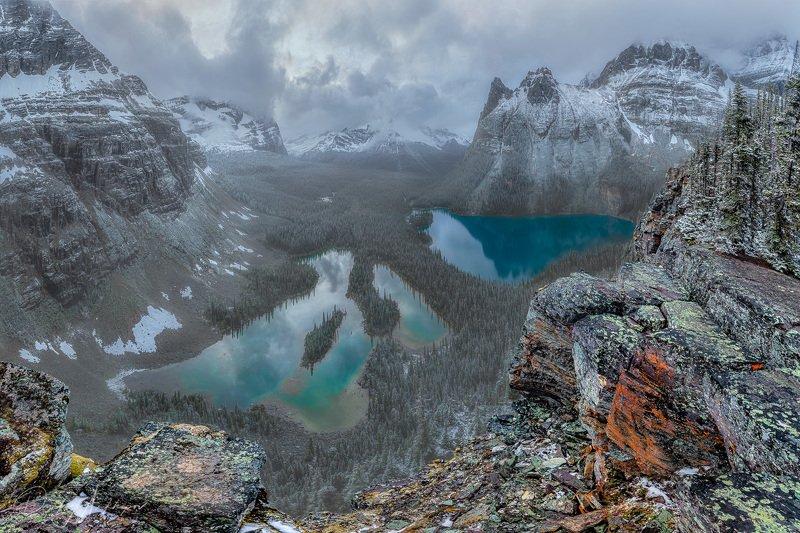 lake, o\'hara., canada. Lake O\'Hara. Snow.photo preview