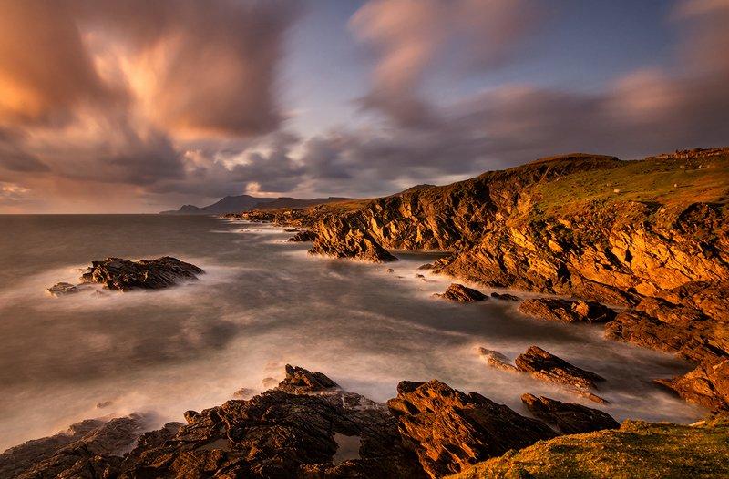 ireland, achill island, sunset, cliffs, ocean Achill Islandphoto preview