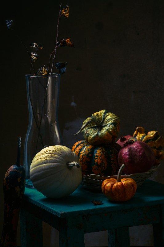 тыква, овощи, натюрморт, ваза, листья, осень с тыквамиphoto preview