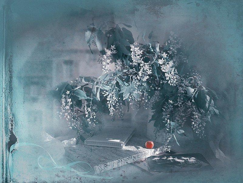 Весна черемуха  яблоко дом книга романтика натюрмортрадость любовь Где-то во времениphoto preview