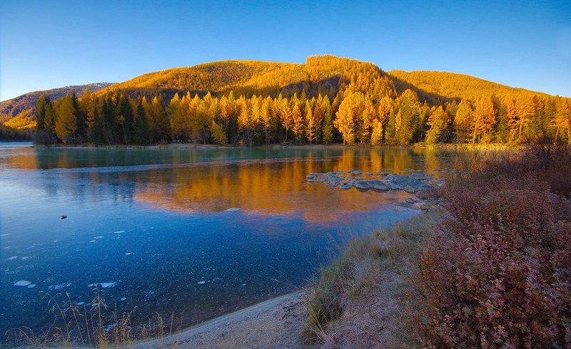 рассвет, утро, свет, вода, река, аргут, лед, алтай Осень на Аргутеphoto preview