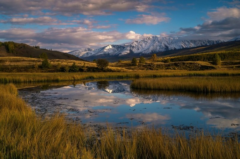 природа  алтай  горы пейзаж путешествие осень тени северо-чуйский хребет отражение озеро джангысколь Отражение...photo preview