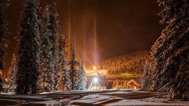 ергаки ночь огни снег зима кедры Магические столбыphoto preview