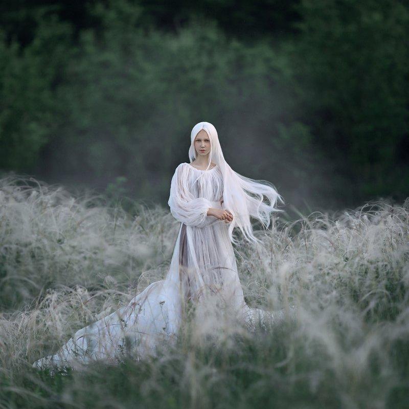 ковыль, белые волосы, белый, белое платье photo preview