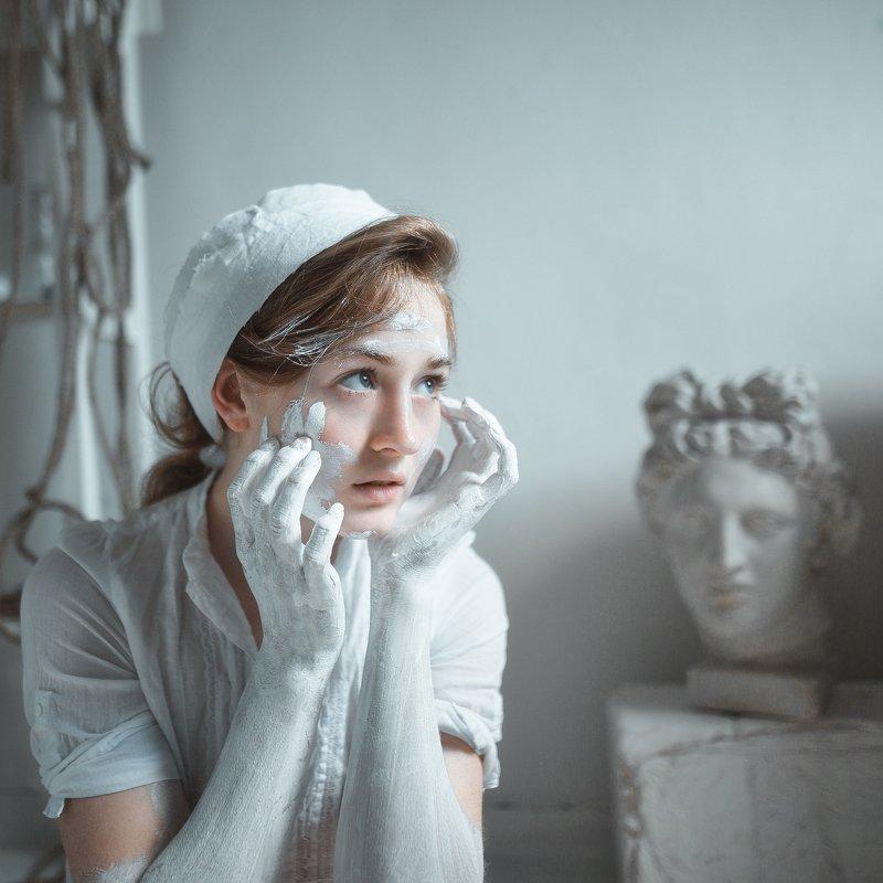 Девушка, портрет, модель, взгляд, красота, арт, позирование Мраморphoto preview