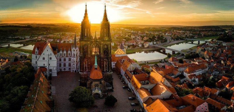 Meissen, Germany, castle, river, Elbe, aerial, dawn, sunrise Мейссен на рассветеphoto preview