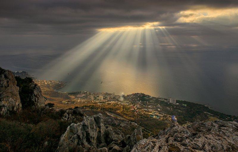 крым, пейзаж,  море, утро, рассвет,  горы, облака, небо, форос, Рассвет над Форосомphoto preview