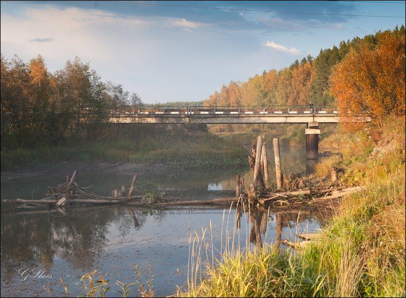 осень, урал Портрет професора УрГАХА Валерия Костина (на мосту справа)photo preview