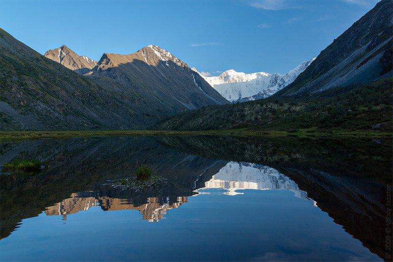 алтай, белуха, ак-кем, горы, отражние, озро, лдники Зеркало на Ак-Кемеphoto preview