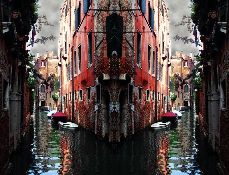 креатив, обработка, концепция, венеция, италия, concept, italy, venice, roads, mazes Здесь наши дорожки расходятся...photo preview