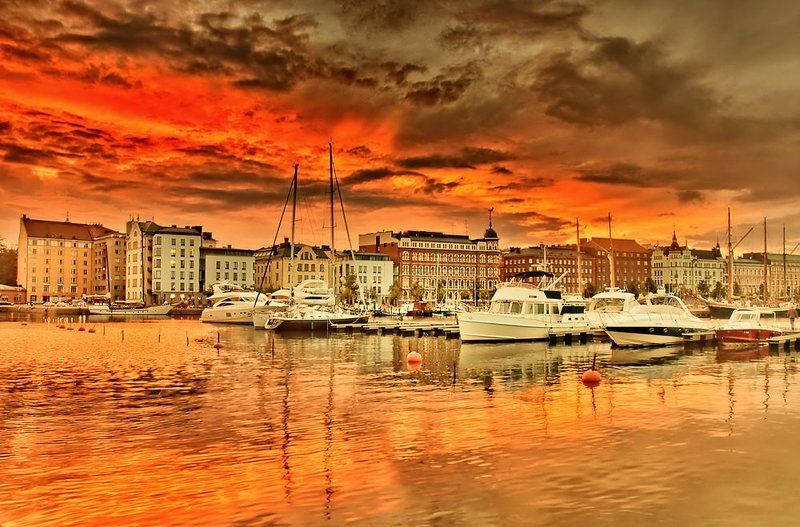 город, море, архитектура, закат, лодки Хельсинкиphoto preview