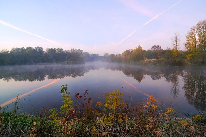 соень, утро, речка краски осеннего утраphoto preview