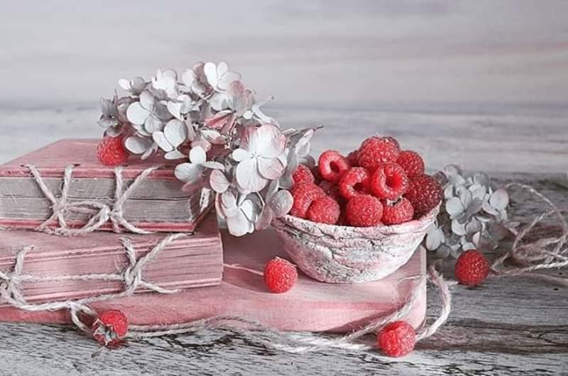 Натюрморт лето малина книги Гортензия радость  любовь Малиновые  воспоминания photo preview