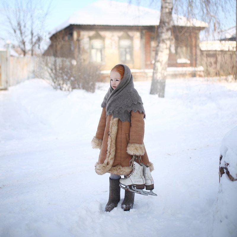 ретро, коньки, речка, утки, зимняя история, зима, снег, катание на коньках,  Покатались...photo preview