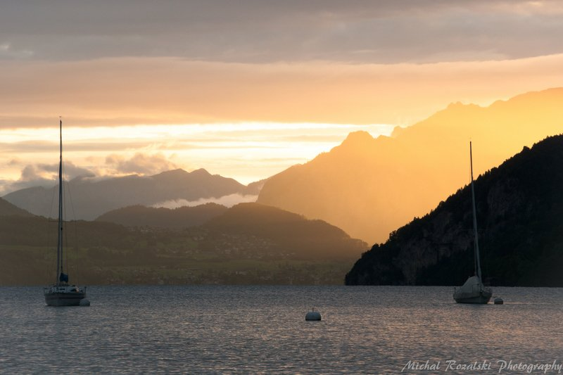 sunset, ,mountain, ,sunrays, ,lake, ,boat, ,summer, ,light, , Golden mountainphoto preview