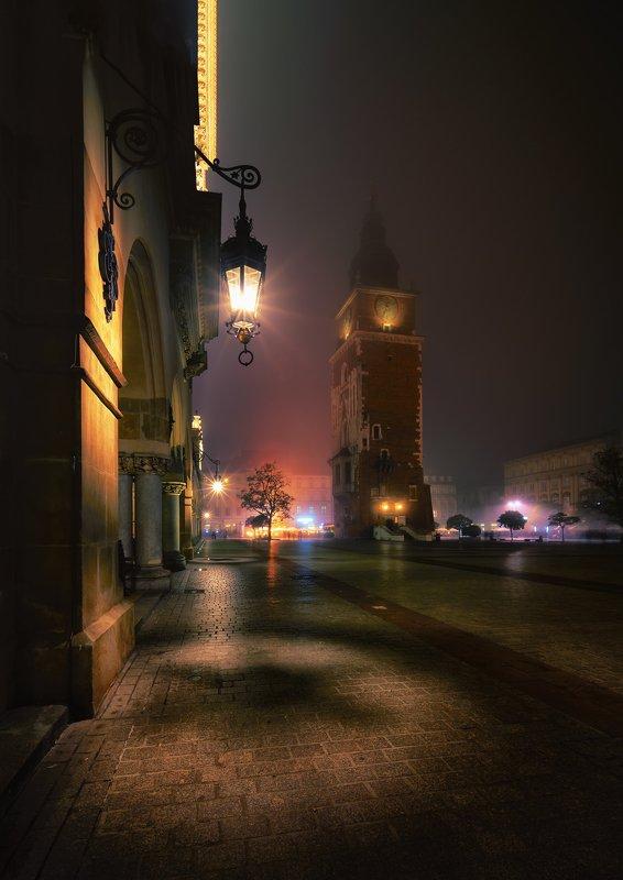 City, cityscape, architecture, colors, street, lights, fog, poland Krakow under the fogphoto preview
