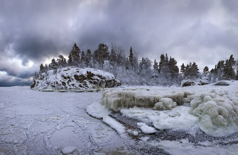 зимняя Ладога, шхеры, Карелия, мороз \