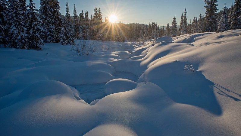 ергаки, зима, утро, восход, солнце, сугробы, речка, кедры, тайга ЕРГАКИ-35photo preview