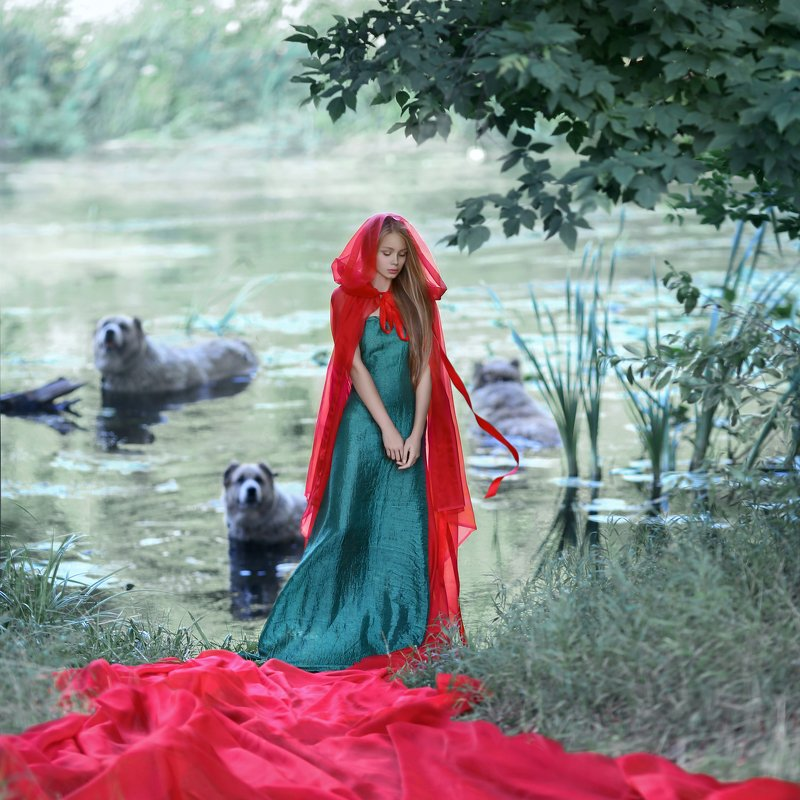 девушка у реки, алабай, собака, девушка с собаками, красный плащ, зеленое платье, купание собак, собаки в реке photo preview
