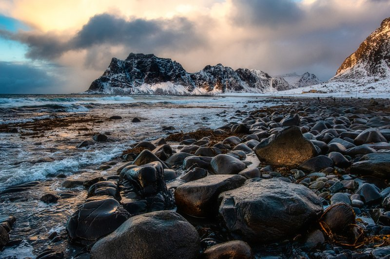 Lofoten, Norway, beach, waves, snow, night, cold, mountains, rocks Uttakleiv beachphoto preview