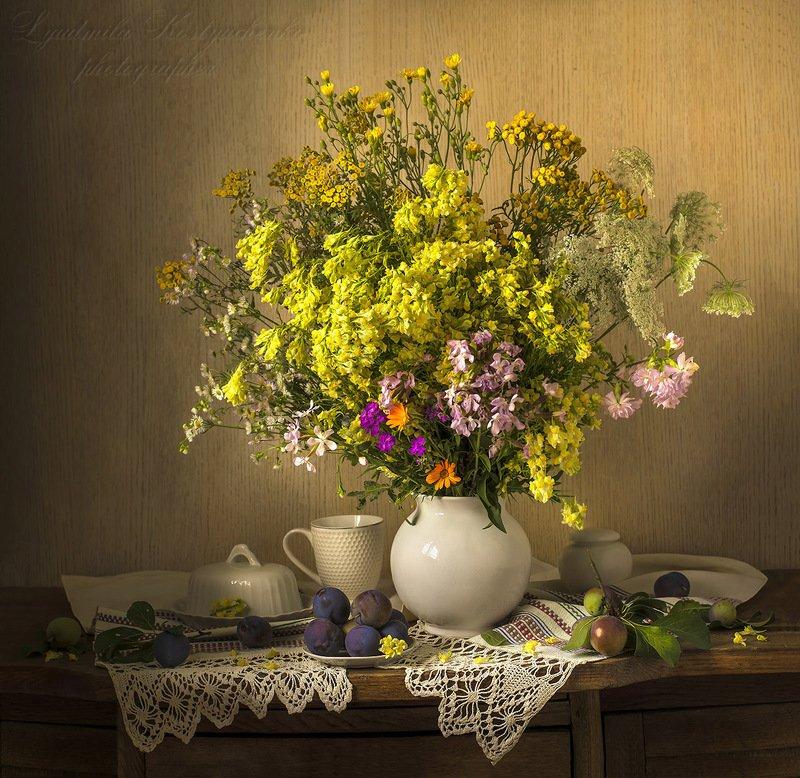 натюрморт с полевыми цветами,лето,букет,цветы,художественное фото,искусство. photo preview