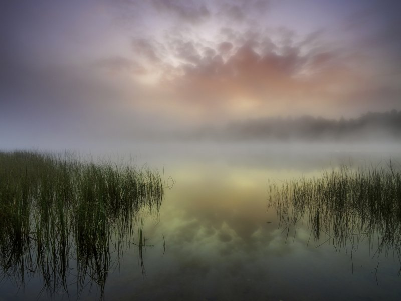 туманный рассвет над озером руокоярви в карелииphoto preview