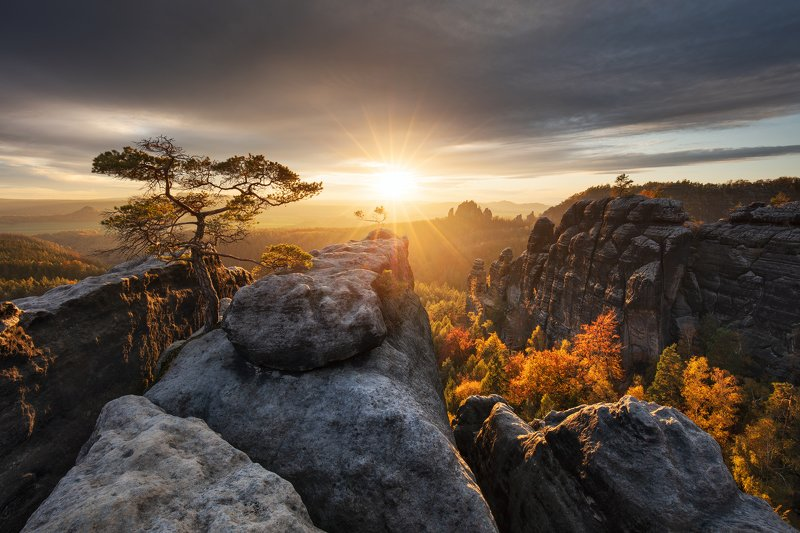 sunset, autumn, fall, light, rocks, germany, saxon switzerland, trees, clouds, sky Last Light of the Dayphoto preview