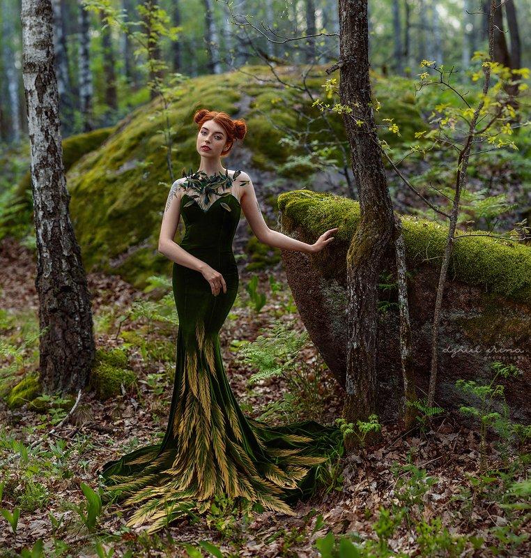 portreit people girl woman irinadzhul dzhulirina green forest trees Forest spiritphoto preview