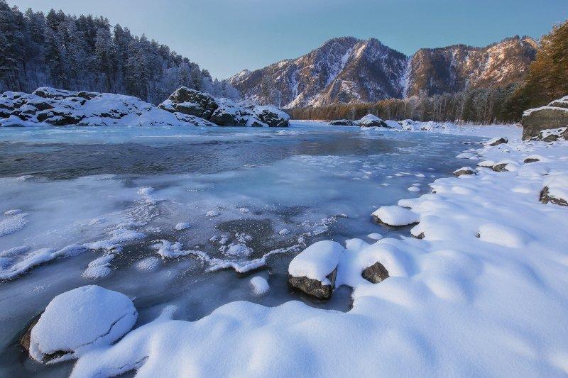 алтай, горный алтай, горы, сибирь, катунь, аскат, чемал, зима Зимняя Катуньphoto preview