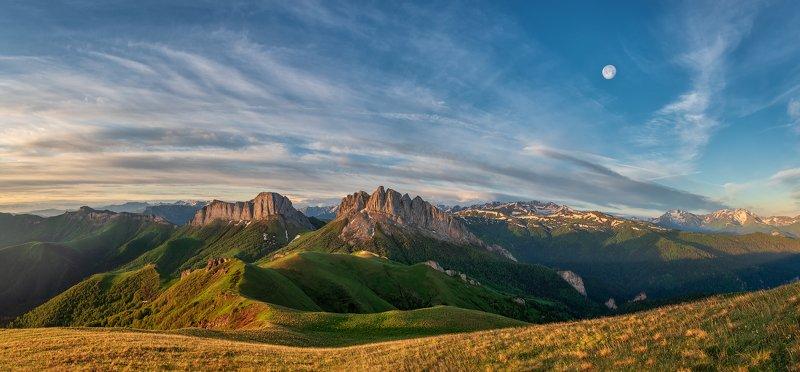 закат, большой тхач, малый тхач, асбестная, горы, пейзаж, рассвет, кавказ, адыгея, ачешбоки Восточный и Западный Ачешбокphoto preview