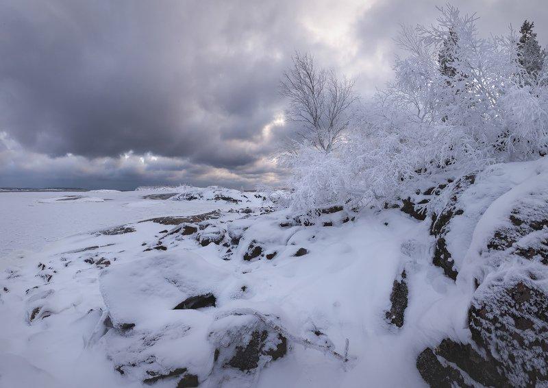 зимняя ладога, ладожские шхеры зимой, зима в Карелии, изморозь \