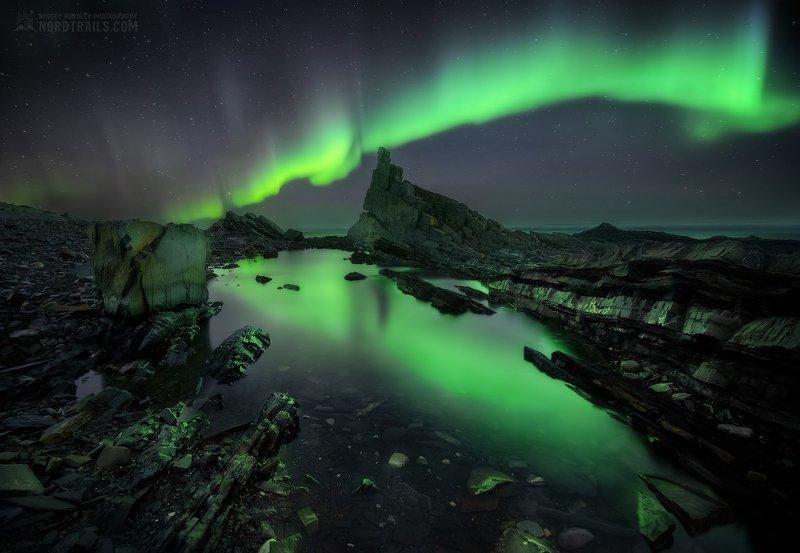 кольский, кольский полуостров, рыбачий, северное сияние, полярное сияние, север Ночь сияний на полуострове Рыбачийphoto preview