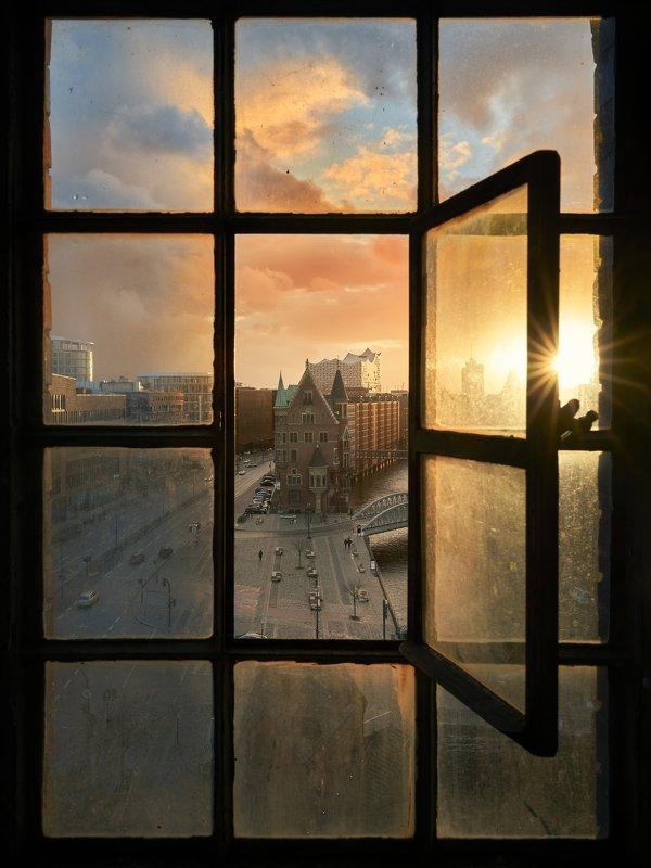 sunset, speicherstadt, window, building, achitecture the windowphoto preview